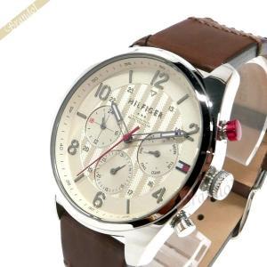 トミーヒルフィガー TOMMY HILFIGER メンズ腕時計 マルチカレンダー 44mm ライトゴールド×ブラウン 1791208 [在庫品]|brandol