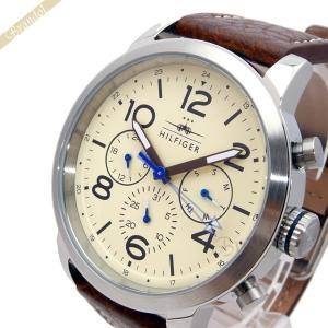 トミーヒルフィガー TOMMY HILFIGER メンズ腕時計 マルチカレンダー 46mm アイボリー×ブラウン 1791230 [在庫品]|brandol