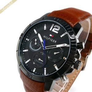 トミーヒルフィガー TOMMY HILFIGER メンズ腕時計 マルチカレンダー 46mm ブラック×ブラウン 1791269 [在庫品]|brandol