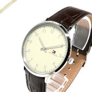 トミーヒルフィガー TOMMY HILFIGER メンズ腕時計 40mm アイボリー×ブラウン 1791338 [在庫品]|brandol