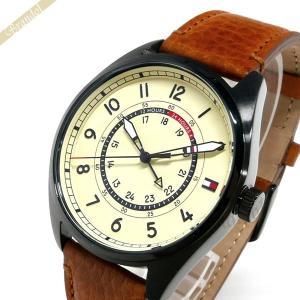 トミーヒルフィガー TOMMY HILFIGER メンズ腕時計 44mm アイボリー×ブラウン 1791372 [在庫品]|brandol