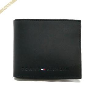 トミーヒルフィガー TOMMY HILFIGER メンズ 二つ折り財布 レザー ブラック 31TL25X005 001 [在庫品]|brandol
