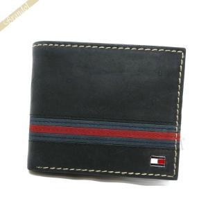 トミーヒルフィガー TOMMY HILFIGER 財布 メンズ 二つ折り財布 YALE レザー ブラック 31TL25X007 BLACK [在庫品]|brandol