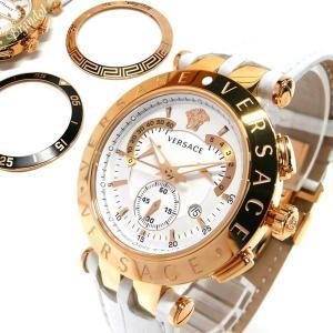 ヴェルサーチ VERSACE メンズ腕時計 Vレース クロノグラフ 替えベゼル付 42mm ホワイト×ゴールド 23C80D002S001 [在庫品] brandol