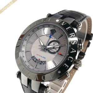 ヴェルサーチ VERSACE メンズ腕時計 Vレース GMT アラーム 46mm シルバー×ブラック 29G98D535S009 [在庫品]|brandol