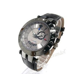 ヴェルサーチ VERSACE メンズ腕時計 Vレース GMT アラーム 46mm シルバー×ブラック 29G98D535S009 [在庫品] brandol 02
