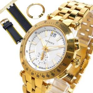 ヴェルサーチ VERSACE メンズ腕時計 Vレース 替えベルト 替えベゼル付 42mm シルバー×ゴールド VAH030016 [在庫品]|brandol