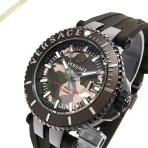 ヴェルサーチ VERSACE メンズ腕時計 Vレース ダイバー カモフラージュ柄 46mm グリーン×ブラウン VAK06 0016 [在庫品]|brandol