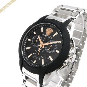 ヴェルサーチ VERSACE メンズ腕時計 キャラクタークロノ 42mm ブラック×シルバー VEM800218|brandol