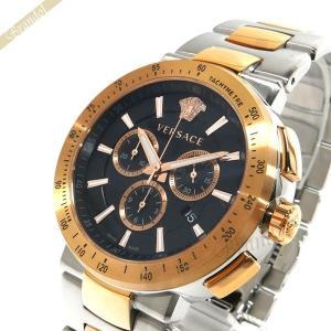 ヴェルサーチ VERSACE メンズ腕時計 ミスティック スポーツ クロノグラフ 46mm ブラック×シルバー×ゴールド VFG100014 [在庫品]|brandol