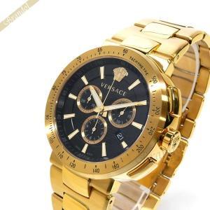ヴェルサーチ VERSACE メンズ腕時計 ミスティック スポーツ クロノグラフ 46mm ブラック×ゴールド VFG190016 [在庫品]|brandol