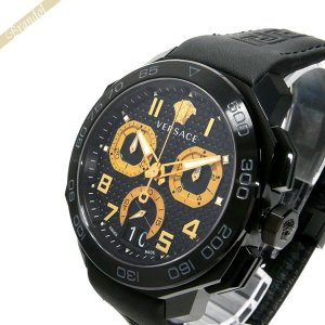 ヴェルサーチ VERSACE メンズ腕時計 ディロス クロノグラフ 44mm ブラック×ゴールド VQC020015 [在庫品]|brandol