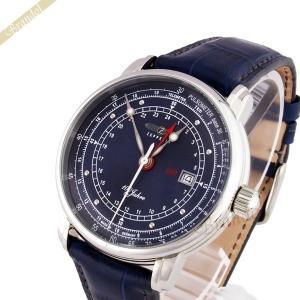aa8ac63625 ツェッペリン ZEPPELIN メンズ腕時計 100周年記念モデル GMT 40mm ネイビー 7646-3