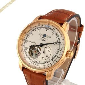 ツェッペリン ZEPPELIN メンズ腕時計 100周年記念モデル オートマチック 40mm 自動巻き シルバー×ライトブラウン 7662-5|brandol