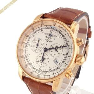 ツェッペリン ZEPPELIN メンズ腕時計 100周年記念モデル クロノグラフ 42mm ライトゴールド×ライトブラウン 7680-5|brandol