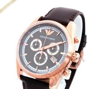 〈訳あり・革ベルトにへこみ〉エンポリオアルマーニ EMPORIO ARMANI メンズ メンズ腕時計 スポルティボ Sportivo 43mm グレー×ブラウン AR6005 [在庫品]|brandol