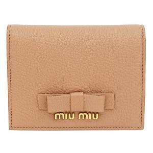 bfaca5eaf123 miu miu財布 ミュウミュウ 二つ折り財布 リボン MADRAS FIOCCO 5MV204 ベージュピンク