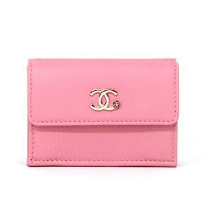 54b2c002da8f シャネル CHANEL ミニ財布 3つ折り財布 スモールフラップウォレット ゴートスキン ピンク フラワープリント