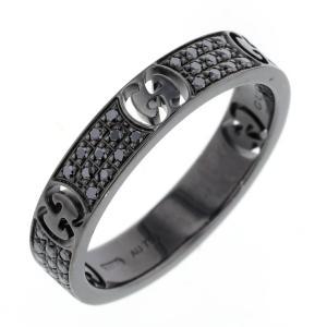 afea2bc8aeef グッチ アイコン 13号 GGロゴ リング 指輪 ブラックダイヤモンド K18WG ブラックルテニウムコーティング レディース GUCCI 中古  K81205884