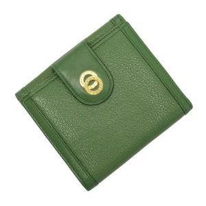 ブルガリ BVLGARI Wホック二つ折り財布 レザー グリーンxゴールド 定番人気