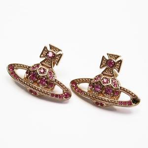 ヴィヴィアンウエストウッド Vivienne Westwood ピアス オーブ 金属素材xクリアストーン ピンクxゴールド 定番人気|brandvalue-store