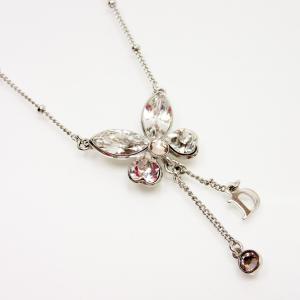 ディオール Dior ネックレス バタフライ 金属素材xストーン シルバーxクリア 定番人気|brandvalue-store