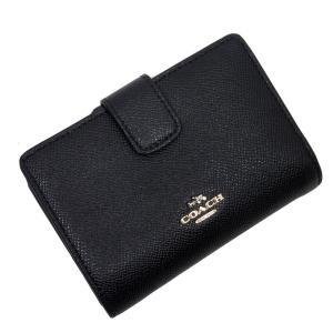 コーチ COACH 二つ折り財布 レザー ブラックxゴールド 定番人気|brandvalue-store