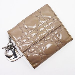クリスチャンディオール Christian Dior Wホック二つ折り財布 レディディオール パテントレザー パープル系 訳あり|brandvalue-store