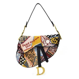 【美品】 クリスチャンディオール Christian Dior ショルダーバッグ サドル バッグ コットンキャンバスxレザーxビーズ マルチカラー|brandvalue-store