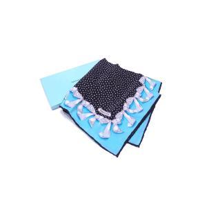 ティファニー Tiffany&Co. スカーフ リボン柄 100%シルク ティファニーブルーxブラックxホワイト 美品|brandvalue-store