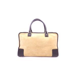 ロエベ LOEWE バッグ アナグラム アマソナ45 スエードxレザー ブラウンxゴールド金具 定番人気 brandvalue-store