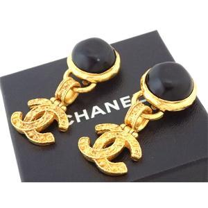 シャネル CHANEL イヤリング ココマーク ヴィンテージ 金属素材xストーン ゴールドxブラック おすすめ|brandvalue-store