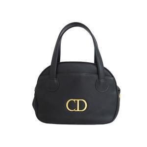 クリスチャンディオール Christian Dior CDロゴ ハンドバッグ ショルダーバッグ レザー ブラックxゴールド金具 定番人気|brandvalue-store