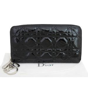クリスチャンディオール Christian Dior レディディオール ラウンドファスナー長財布 パテントレザー ブラック レディース おすすめ|brandvalue-store