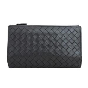 ボッテガヴェネタ BOTTEGA VENETA イントレチャート 二つ折り財布 レザー ブラック メンズ 定番人気|brandvalue-store