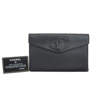 シャネル CHANEL ココマーク キャビアスキン 長財布 クラッチバッグ ブラック レディース 定番人気|brandvalue-store