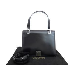 セリーヌ CELINE 2wayバッグ ロゴ レザーx金属素材 ブラックxシルバー金具 おすすめ|brandvalue-store