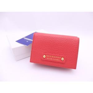 ブルーレーベル 三つ折り財布 ピンクオレンジ レザー 中古
