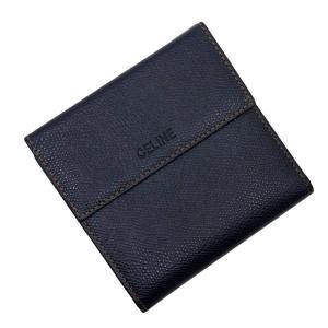 セリーヌ CELINE Wホック二つ折り財布 レザー ネイビーxオレンジ 定番人気|brandvalue-store