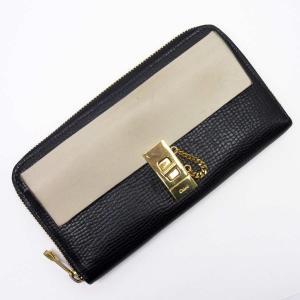 クロエ Chloe ラウンドファスナー長財布 レザー ブラックxベージュxゴールド 定番人気|brandvalue-store