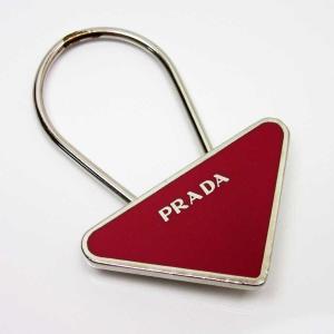 51e5fcc49ded プラダ PRADA キーリング キーホルダー 三角ロゴ 金属素材 レッドxシルバー 定番人気