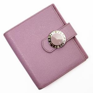 ブルガリ・ブルガリ 二つ折り財布 ピンク×シルバー レザー 中古