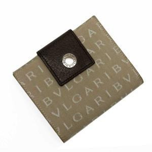ブルガリ BVLGARI Wホック二つ折り財布 キャンバスxレザー ベージュxホワイトxブラウン 定...