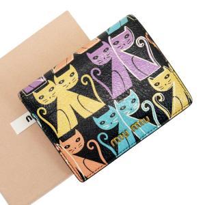 ミュウミュウ MIUMIU 二つ折り財布 レザー ブラックxマルチxゴールド 定番人気|brandvalue-store