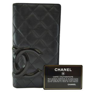 4bc3b5709699 シャネル CHANEL 二つ折り長財布 カンボンライン レザー ブラックxピンク(内側) 定番人気