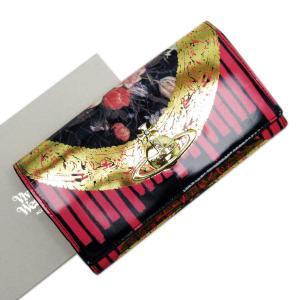 ヴィヴィアンウエストウッド Vivienne Westwood 二つ折り長財布 オーブ パテントレザー ピンクxゴールド 定番人|brandvalue-store