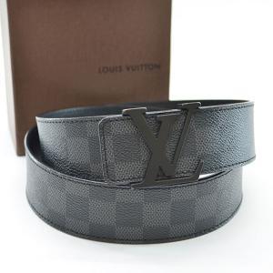 ルイヴィトン Louis Vuitton ベルト(100/40) ダミエグラフィット サンチュールLVイニシアル ダミエキャンバス グラフィット(ブラック) 定番人気|brandvalue-store