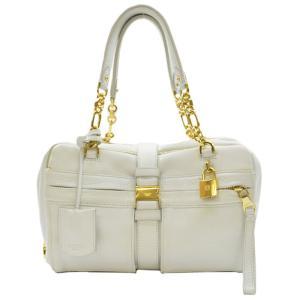 ロエベ LOEWE ハンドバッグ レザーx金属素材 ホワイトxゴールド 定番人気 brandvalue-store