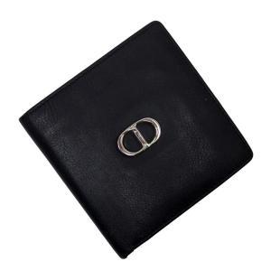 クリスチャンディオール Christian Dior 二つ折り財布 CDロゴ レザー ブラックxシルバー 定番人気|brandvalue-store