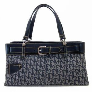 クリスチャンディオール Christian Dior ショルダーバッグ トロッター レザーxキャンバス ネイビー 定番人気|brandvalue-store